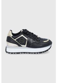 GOE - Buty skórzane. Nosek buta: okrągły. Zapięcie: sznurówki. Kolor: czarny. Materiał: skóra. Obcas: na platformie