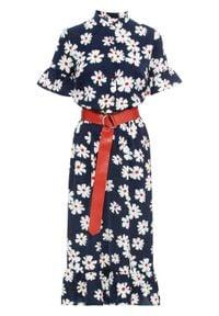 Sukienka z paskiem bonprix ciemnoniebiesko-biały w kwiaty. Kolor: niebieski. Wzór: kwiaty