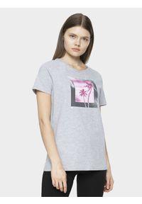 4f - T-shirt damski. Kolor: szary. Materiał: jersey, dzianina, bawełna. Długość: długie