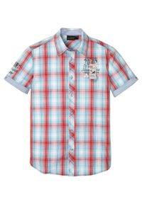 Koszula z krótkim rękawem w kratę bonprix turkusowo-czerwono-biały w kratę. Kolor: niebieski. Długość rękawa: krótki rękaw. Długość: krótkie