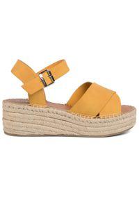 Żółte sandały Aldo casualowe, na co dzień