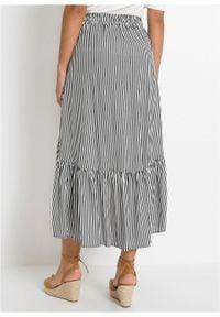 Spódnica z dłuższym tyłem bonprix ciemnoniebiesko-biel wełny w paski. Kolor: niebieski. Materiał: wełna. Długość: długie. Wzór: paski #3