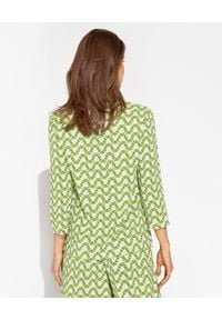 MALIPARMI - Zielona wzorzysta koszula. Okazja: do pracy, na spotkanie biznesowe, na co dzień. Kolor: zielony. Materiał: elastan, tkanina, wiskoza, materiał. Styl: klasyczny, elegancki, casual, biznesowy