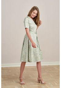 Marie Zélie - Sukienka Alodia Estrilda zielona. Kolor: zielony. Materiał: bawełna, satyna, skóra, materiał. Długość rękawa: krótki rękaw