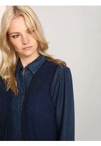 Niebieska kamizelka TOP SECRET w kolorowe wzory, długa, elegancka, na zimę