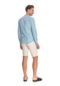 TOP SECRET - Koszula męska z lnem. Typ kołnierza: kołnierzyk stójkowy. Kolor: niebieski. Materiał: len. Długość rękawa: długi rękaw. Długość: długie. Sezon: lato. Styl: wakacyjny