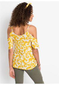 Shirt off-shoulder bonprix żółty szafranowy wzorzysty. Kolor: żółty
