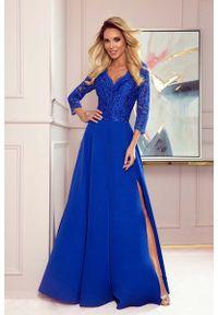 Numoco - Długa Rozkloszowana Sukienka z Koronką - Chabrowa. Kolor: niebieski. Materiał: koronka. Wzór: koronka. Długość: maxi