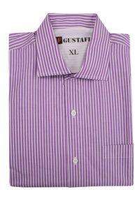 Fioletowa koszula casual Gustaff na co dzień, w paski, długa, z długim rękawem