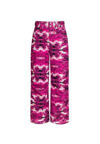 Różowe spodnie narciarskie Descente z aplikacjami