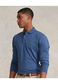 Ralph Lauren - RALPH LAUREN - Niebieska bluzka polo z logo. Typ kołnierza: polo. Kolor: niebieski. Materiał: bawełna. Długość rękawa: długi rękaw. Długość: długie. Wzór: melanż, haft, kolorowy