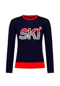 Niebieski sweter Perfect Moment z okrągłym kołnierzem, z napisami, retro