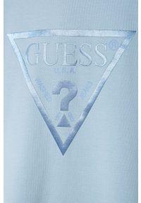 Niebieska sukienka Guess Jeans z kapturem, prosta, na ramiączkach, z nadrukiem