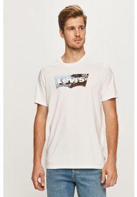 Biały t-shirt Levi's® w kolorowe wzory, z okrągłym kołnierzem
