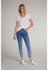 T-shirt z krótkim rękawem Oui. Kolor: biały. Materiał: bawełna. Długość rękawa: krótki rękaw. Długość: krótkie