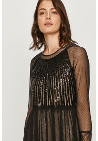 Czarna sukienka TwinSet w koronkowe wzory, mini, klasyczna
