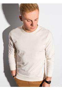 Ombre Clothing - Bluza męska bez kaptura B1153 - kremowa - XXL. Typ kołnierza: bez kaptura. Kolor: kremowy. Materiał: bawełna, poliester