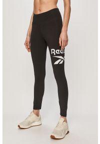 Czarne legginsy Reebok z nadrukiem, z podwyższonym stanem