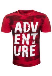 Czerwony t-shirt z nadrukiem Recea z krótkim rękawem, na co dzień, klasyczny