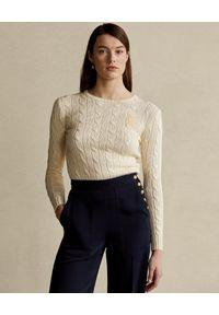 Ralph Lauren - RALPH LAUREN - Beżowy sweter Slim fit. Typ kołnierza: polo. Kolor: beżowy. Materiał: materiał. Długość rękawa: długi rękaw. Długość: długie. Wzór: aplikacja
