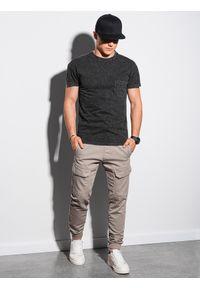 Ombre Clothing - T-shirt męski bawełniany S1375 - czarny - XXL. Kolor: czarny. Materiał: bawełna. Wzór: aplikacja. Sezon: lato, wiosna
