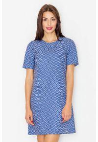 Niebieska sukienka pastelowa Figl z krótkim rękawem