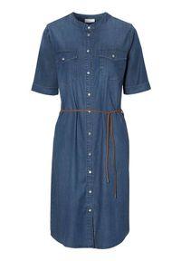 Niebieska sukienka Freequent z krótkim rękawem, elegancka, ze stójką