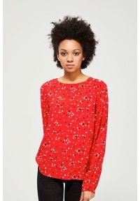 Czerwona koszula MOODO długa, w geometryczne wzory, z długim rękawem, bez kołnierzyka