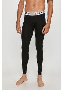 Czarne legginsy sportowe Jack & Jones z nadrukiem