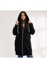 Moda Size Plus Iwanek - Czarna bluza Halina XXL OVERSIZE WIOSNA. Kolekcja: plus size. Kolor: czarny. Materiał: dresówka, tkanina, dzianina, elastan, bawełna. Długość: krótkie. Sezon: wiosna