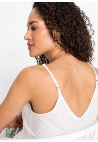 Top koronkowy na cienkich ramiączkach bonprix biały. Kolor: biały. Materiał: koronka. Długość rękawa: na ramiączkach