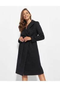 CINZIA ROCCA - Granatowy płaszcz z wełny. Kolor: niebieski. Materiał: wełna