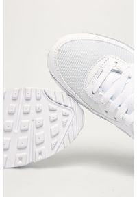 Białe buty sportowe Nike na średnim obcasie, z cholewką, z okrągłym noskiem