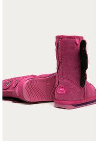 Różowe buty zimowe EMU Australia z cholewką, z okrągłym noskiem