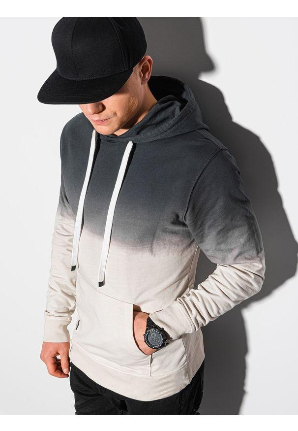 Ombre Clothing - Bluza męska z kapturem B1148 - grafitowa - XXL. Typ kołnierza: kaptur. Kolor: szary. Materiał: bawełna