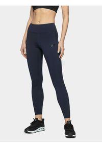 4f - Legginsy treningowe damskie. Kolor: niebieski. Materiał: włókno. Długość: do kostek