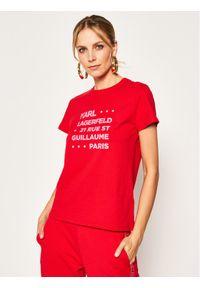 Czerwony t-shirt Karl Lagerfeld