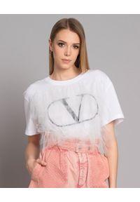 Biały t-shirt VALENTINO klasyczny, z dekoltem w kształcie v, z aplikacjami