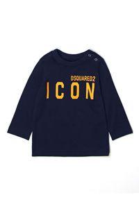 DSQUARED2 KIDS - Granatowa bluzka z logo Icon 0-3 lat. Okazja: na co dzień. Kolor: niebieski. Materiał: bawełna, dresówka, tkanina. Długość rękawa: długi rękaw. Długość: długie. Wzór: nadruk. Sezon: lato. Styl: klasyczny, casual