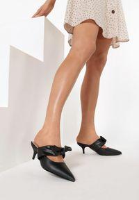 Born2be - Czarne Klapki Bellflower. Nosek buta: szpiczasty. Kolor: czarny. Materiał: skóra ekologiczna. Wzór: jednolity. Obcas: na obcasie. Styl: klasyczny. Wysokość obcasa: niski