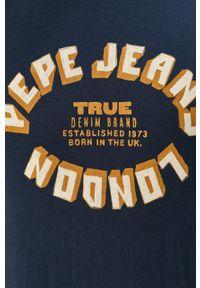 Niebieski t-shirt Pepe Jeans casualowy, na co dzień, z nadrukiem