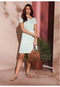 Sukienka z koronką bonprix miętowy. Kolor: niebieski. Materiał: koronka. Wzór: koronka