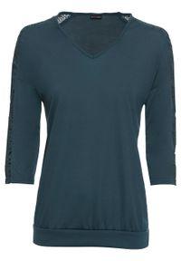 Shirt z rękawami 3/4 i koronką bonprix niebieskozielony. Kolor: niebieski. Materiał: koronka. Wzór: koronka
