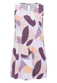 Top bawełniany o linii litery A bonprix fiołkowy bez w graficzny wzór. Kolor: fioletowy. Materiał: bawełna