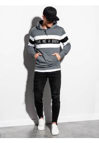 Szara bluza Ombre Clothing z kapturem, z nadrukiem
