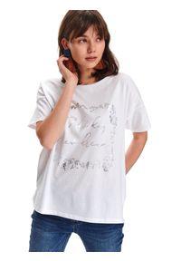 TOP SECRET - T-shirt damski z nadrukiem. Okazja: do pracy. Kolor: biały. Długość rękawa: krótki rękaw. Długość: krótkie. Wzór: nadruk. Sezon: wiosna