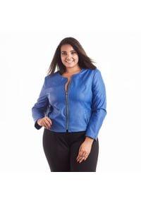 Niebieski żakiet Moda Size Plus Iwanek w kolorowe wzory, z klasycznym kołnierzykiem
