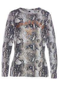 Szara bluzka bonprix z nadrukiem, elegancka