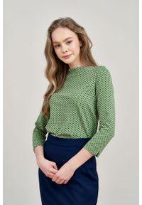 Marie Zélie - Bluza Hermina zieleń wiosenna w kropeczki. Materiał: bawełna, dzianina, elastan. Sezon: wiosna