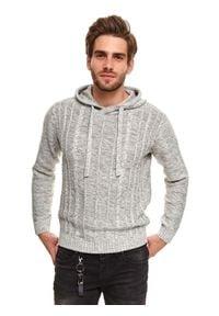TOP SECRET - Sweter z kapturem. Typ kołnierza: kaptur. Kolor: szary. Materiał: bawełna, materiał. Długość: długie. Sezon: zima #1